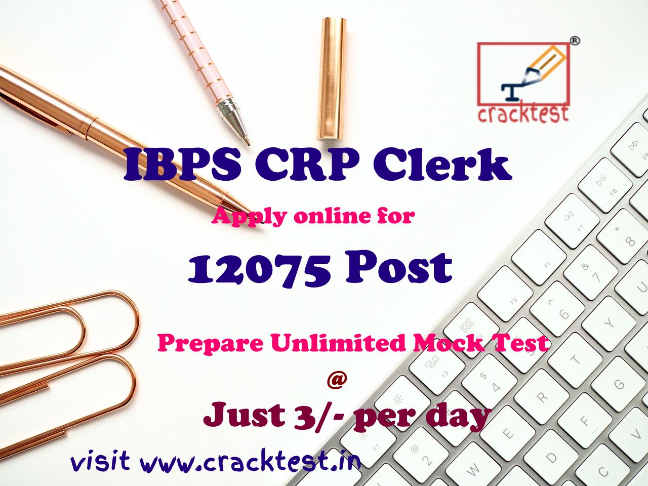 IBPS CRP Clerks -IX Online Form 2019 for 12075 vacancies